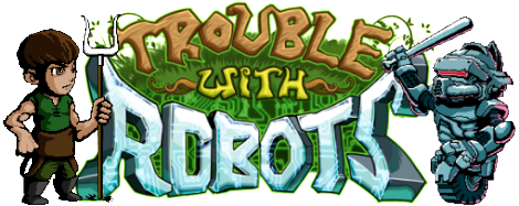 Trouble With Robots - Logo - With Peasand and Batonbot - 510x203